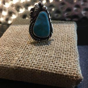 Vintage Robert Kelly Navajo Squash Turquoise Ring